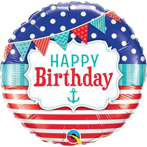 Balão Happy Birthday Marinheiro 46cm