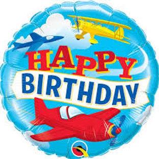 Balão Happy Birthday Aviões 46cm