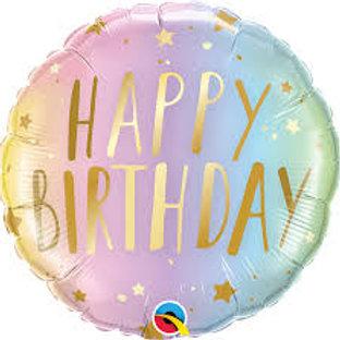 Balão Happy Birthday Pastel
