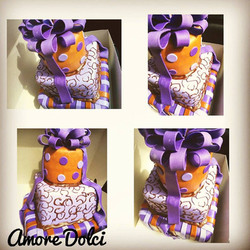Purple and brown cake