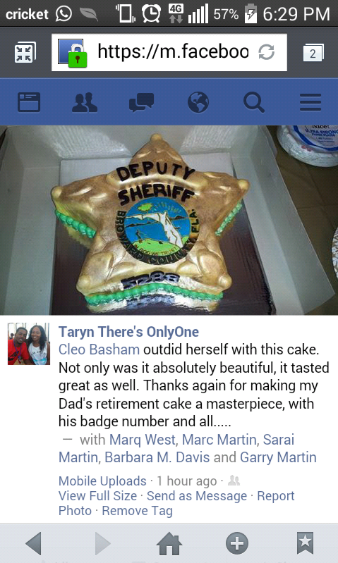 Sheriff badge retirement cake