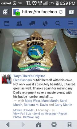 Sheriff badge retirement cake