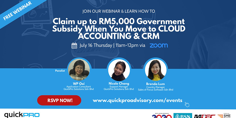 Claim up to RM5,000 Govt Subsidy When You Move to Cloud Accounting & CRM