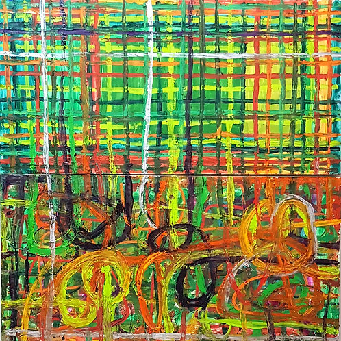GRID QUAD GREEN 1,80cm x 1,80cm Oil/Canvas