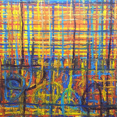 GRID QUAD BLUE 1,80cm x 1,80cm Oil/Canvas