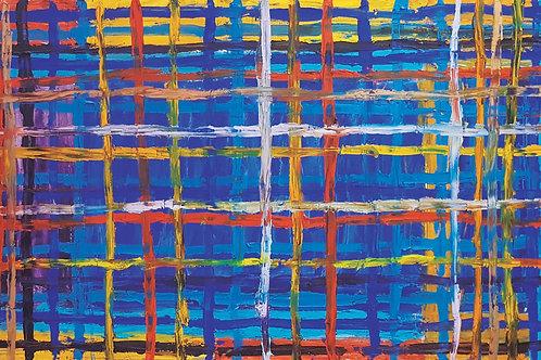 GRID BLUE 0,90cm x 1,80cm Oil/Canvas