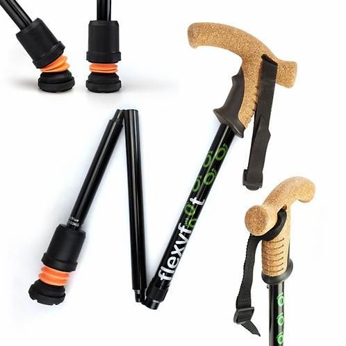 FLEXYFOOT Premium Cork Handle Folding Walking Stick