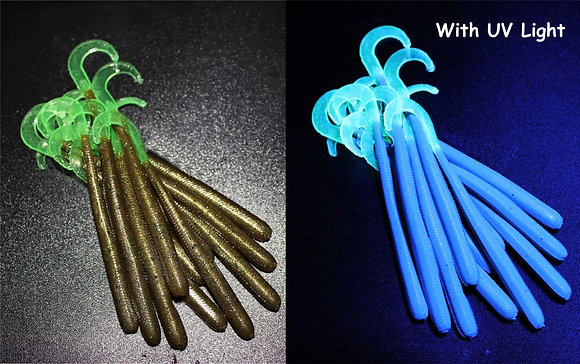 Frog Moss UV Worm with Nuclear Glow Tail -6 per pk