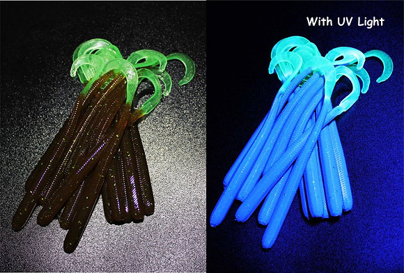 Cola Moss UV Worm with Nuclear Glow Tail -6 per pk