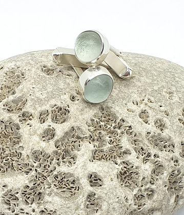 Smoky off-white bezel sea glass cuff-links
