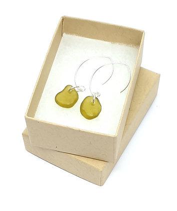 Honey yellow leaf-hook earrings