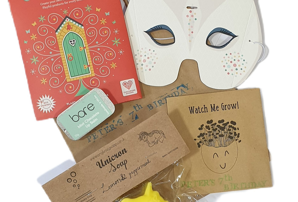 Personalised party bags (mask, soap, lip balm, cardboard kit)