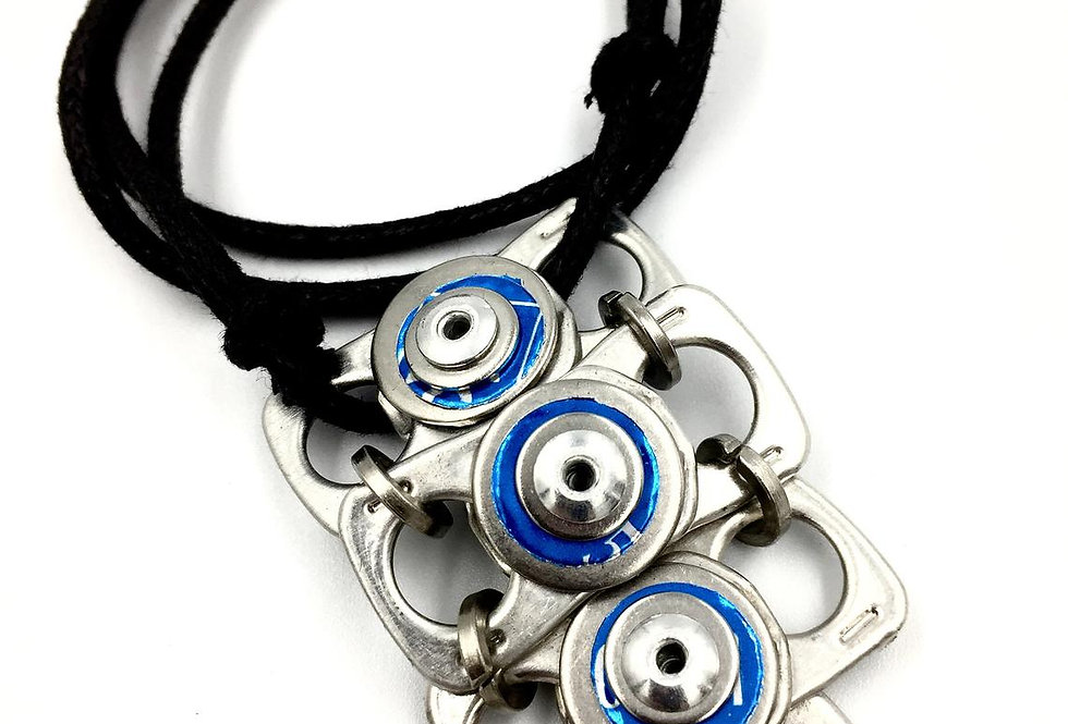 Blue riveted ring-pull pendant - adjustable cord