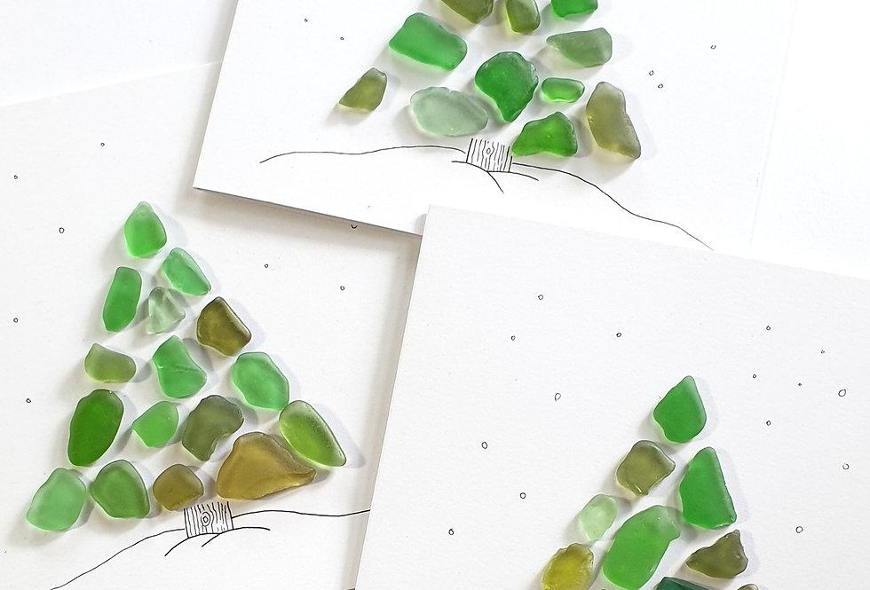 Sea Glass Greetings Cards - Christmas Tree