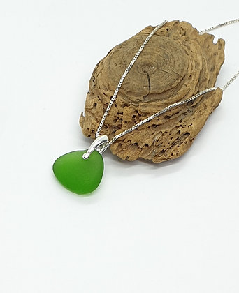 Bright green pendant and chain