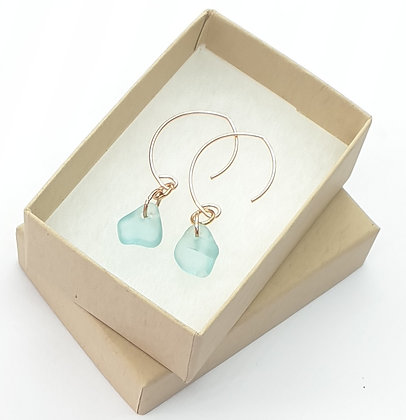 Rose gold, turquoise glass leaf shaped earrings