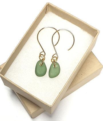 Green seaglass droplets on 14k gold earrings