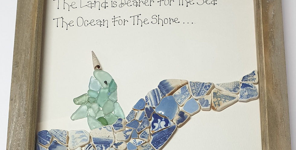Narwhal sea glass and sea pottery boxed art