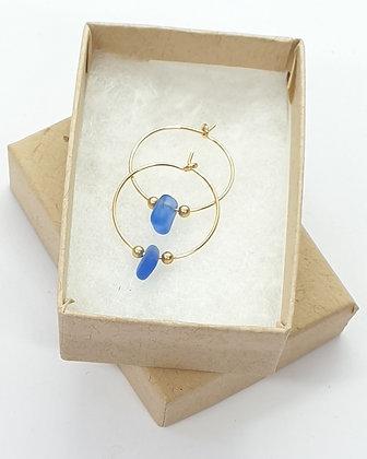 Blue sea glass, 20mm 14k gold hoop earrings