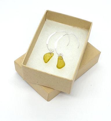 Honey yellow seaglass, loop-through hammered earrings