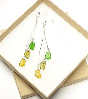 Triple hanging statement earrings
