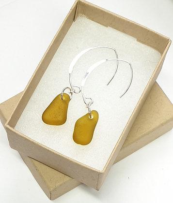 Yellow seaglass, loop-through hammered earrings
