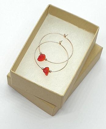 Red seaglass, 25mm rose gold hoop earrings