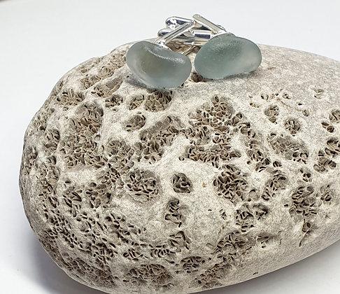 Smoky grey seaglass cufflinks