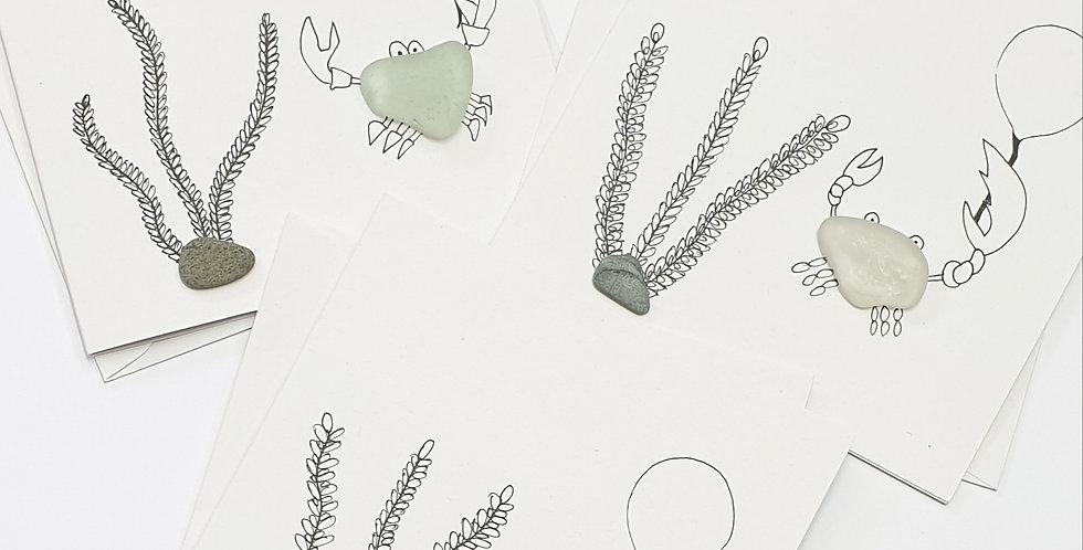 Sea Glass Greetings Cards - Crab