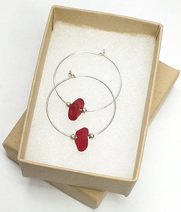 Rare RED seaglass 25mm hoop earrings