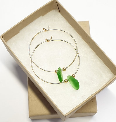 Green sea glass, 30mm 14k gold hoop earrings