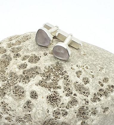Lilac bezel sea glass cuff-links