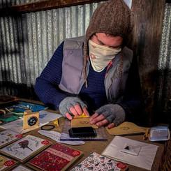 Paul preparing seed packets