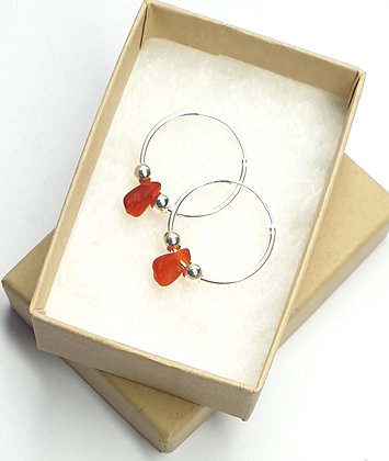 Red seaglass 20mm sleeper earrings