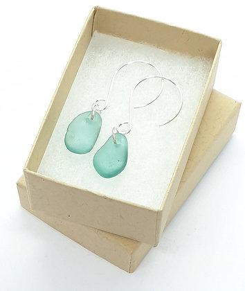 Turquoise seaglass dangle earrings