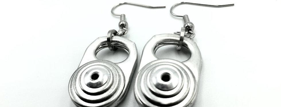 Ring pull and rivet earrings