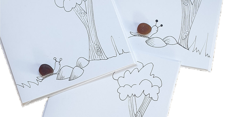 Sea Glass Greetings Cards -Snails