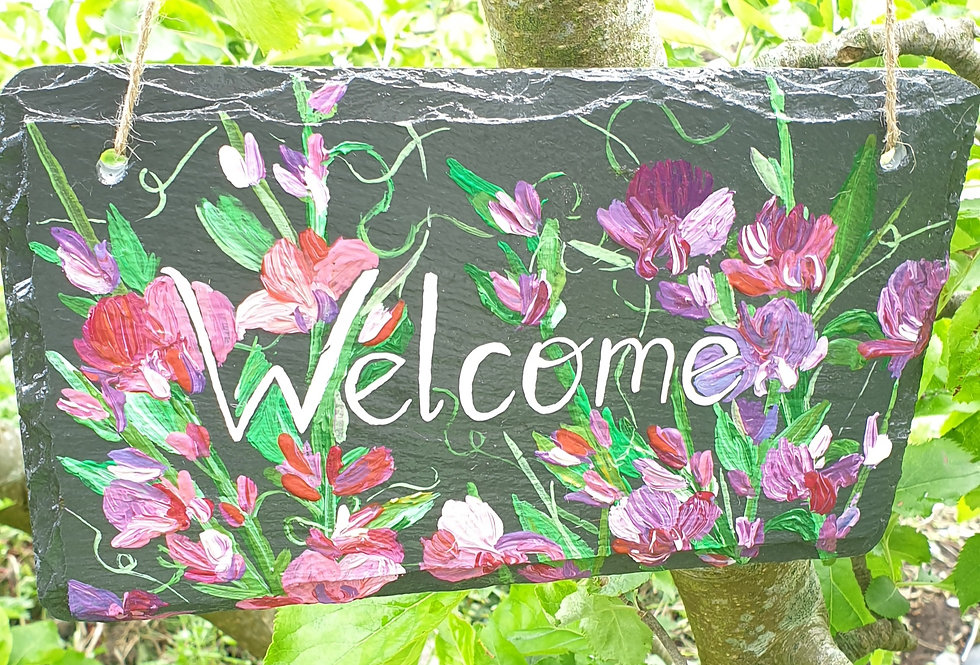 Welcome Reclaimed Slate Sign