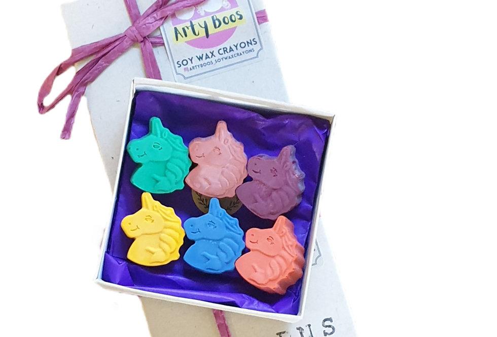SIX handmade eco-crayons -unicorns