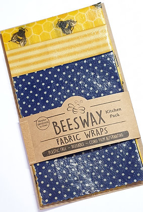 Beeswax Wraps - 3 Kitchen Pack  (bees/spots/stripes)