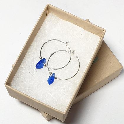Blue seaglass, fine hoop earrings