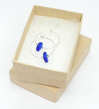 Blue fine hoop earrings