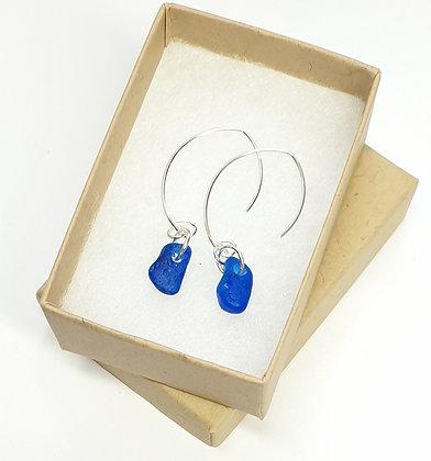 Blue leaf-hook earrings