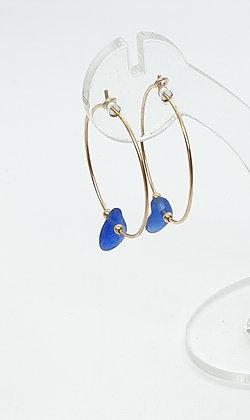 Blue sea glass, 25mm 14k gold hoop earrings
