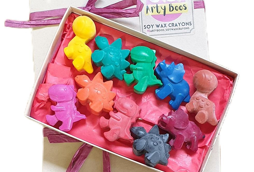 TEN handmade eco-crayons - dinosaurs