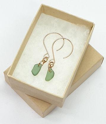 Rose gold, moss green seaglass leaf shaped earrings