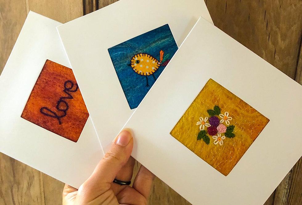 Handmade textile cards