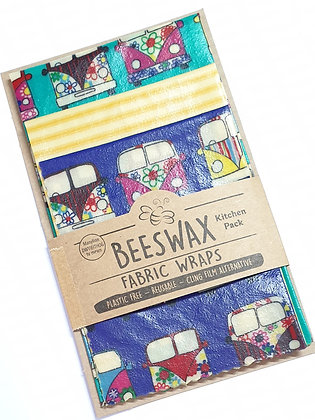 Beeswax Wraps - 3 Kitchen Pack  (campervans/stripes)