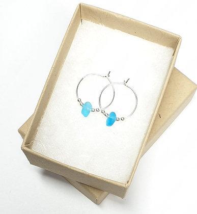 Turquoise seaglass fine hoop earrings