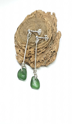 Green twisted nugget stud dangles